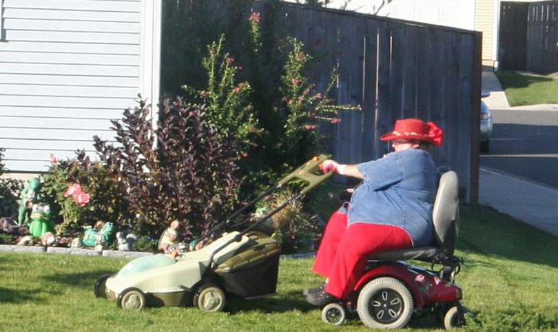 Power chair mowing